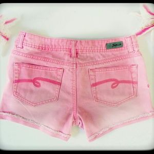 Justice jean shorts simply low pink distressed